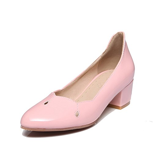 AmoonyFashion Womens Pull-On Pointed-Toe Kitten-Heels Solid Pumps-Shoes Pink qc8n2A2aSH