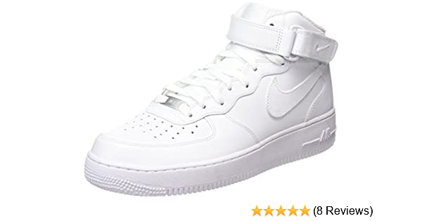 the best attitude b2ac3 b21c5 Amazon.com   NIKE Women s Air Force 1  07 Mid Hi-Top Trainers, (White White),  6.5 US   Fashion Sneakers