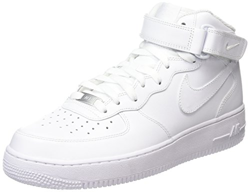 Nike Women's Air Force 1 '07 Mid Hi-Top Trainers, Bianco (White/White), 4.5 UK