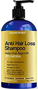 Pure Body Naturals Hair Loss Shampoo with Biotin, Sulfate-Free, 16 Ounce