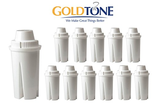 GoldTone TM WaterFilter replaces Brita Water Filter Pitcher Classic Replacement Filters For Brita and Mavea, 12 Count by GoldTone