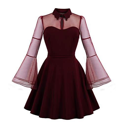 - Wellwits Women's Keyhole Mesh Bell Long Sleeve Swing Cocktail Dress Wine S