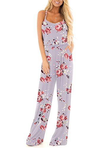 Floral Printed Jumpsuit Women Summer Boho Casual Loose Spaghetti Strap Sleeveless Open Back Wide Leg Long Pants Romper Jumpsuits Apricot Large