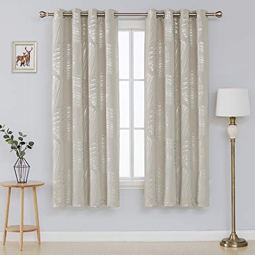 Deconovo Thermal Insulated Blackout Curtains Room Darking Panels Window Curtain Drapes for Bedroom 52 x 72 Inch Light Beige 2 - Drapes Blackout