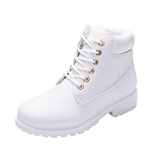VFDB Womens Fashion Work Shoes Winter Ankle High Lace Up Combat Military Boots