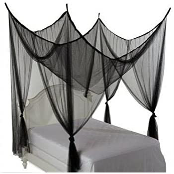 Four Corner Bed Canopy Hanging Mosquito Net Fit Full Queen King Size  Bedding Black
