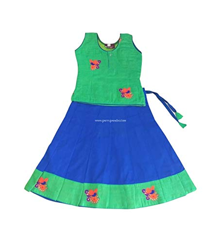 d37d2ab90257d Pattu Pavadai Traditional Green and Blue Pavada Fancy Langa for Baby Girls  and Kids