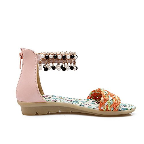 Sandals Assorted Womens Soft Pink heels Color Toe AmoonyFashion Low Material Open Zipper Wedges PpUqgn0