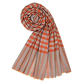 100% Handspun Cashmere Womens Mens Stripes Scarf Stole Winter Shawl KASHFAB