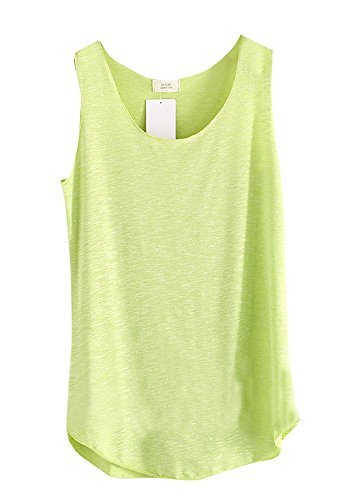 Shawhuaa Womens Basic Loose Fit Sleeveless Tank Top T-shirt Green (Rayon Tank Top compare prices)