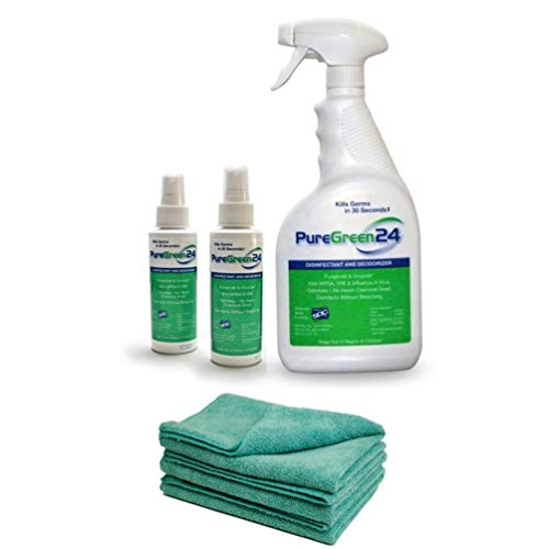 PureGreen24 Disinfectant, Kills Deadly Germs Including 2019 Flu & MRSA Without The use of Toxic Chemicals (1 32oz, 2 4oz and 3 XL Microfiber ()