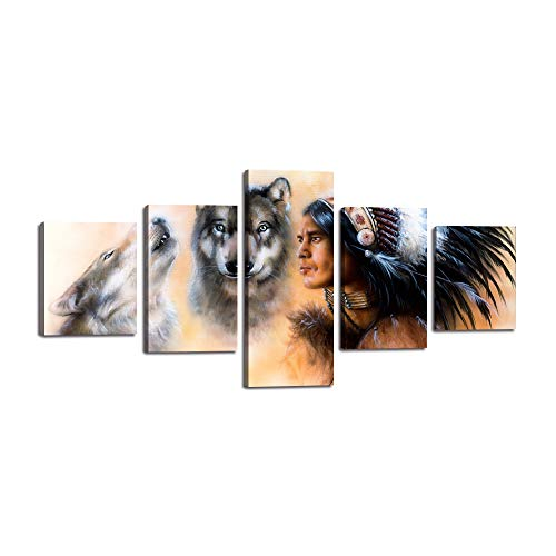- Native American Wolf Wall Art Decor for Living Room 5 Panels Indian Man in Ethnic Feather with Wolf Canvas Painting Modern Poster Print Artwork Home Bedroom Office Framed Decor (50''Wx24''H)
