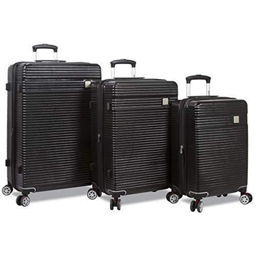 Dejuno 25DJ-8275-BLACK Ashford Hardside Spinner TSA Combination Lock Luggage Set44; Black – 3 Piece