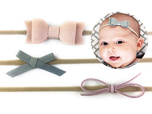 Baby Wisp Infant Mixed Bows 3 Faux Suede Baby Elastic Headbands Baby Girls Newborn