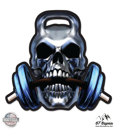 "Weightlift Skull - 3"" Vinyl Sticker - For Car Laptop I-Pad Phone Helmet Hard Hat - Waterproof Decal"