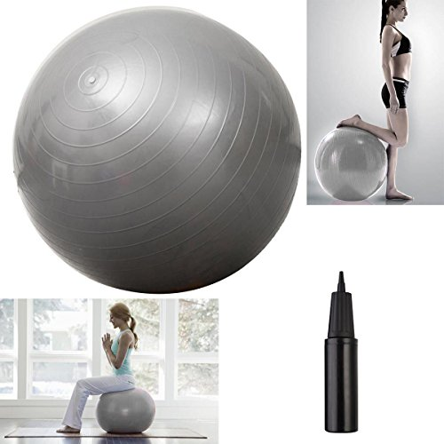 "Hot item Yoga Ball 25"" 65cm Exercise Gymnastic Fitness Pilates Balance w/Air Pump Silver"