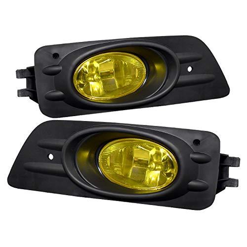 (Carpartsinnovate For 06-07 Honda Accord 4Dr Sedan Yellow Fog Lights Driving Bumper Lamps+Switch)
