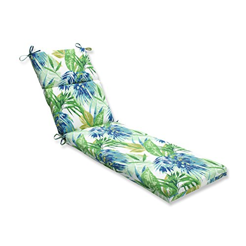 Pillow Perfect Outdoor/Indoor Soleil Chaise Lounge Cushion, Blue/Green - Green Patio Chaise Lounge