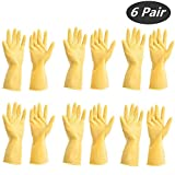 Tsyware 12 Gloves (6 Pairs) Unbreakable Heavy Duty Kitchen Rubber Cleaning Gloves Dishwashing Clean Yellow flock Lined Latex Glove Reusable with Household Powder Free, Size Medium