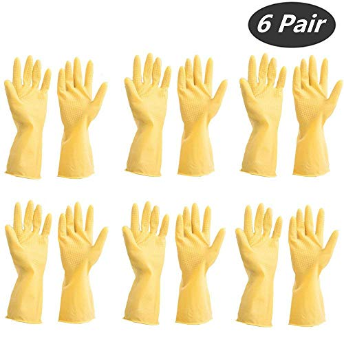 Yellow Flock Lined Gloves (Tsyware 12 Gloves (6 Pairs) Unbreakable Heavy Duty Kitchen Rubber Cleaning Gloves Dishwashing Clean Yellow flock Lined Latex Glove Reusable with Household Powder Free, Size Medium)
