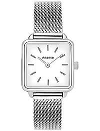 Women Stainless Steel Mesh Quartz Watches Waterproof Silver Square Aanalog Lady Girls Wristwatches
