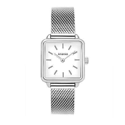 (ANANKE Women Silver Square Wristwatches Lady Girls Waterproof Stainless Steel Mesh Quartz Aanalog Watches)