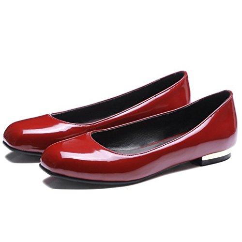Chiuse Red Piatto con Pompe Basse RAZAMAZA Casual Donne Scarpe Tacco TqPPR