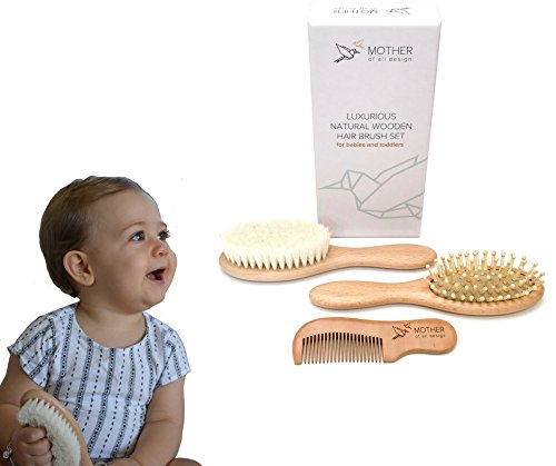 Baby Hair Brush and Comb Set - grooming kit ideal for cradle cap on a baby or toddler - registry baby essentials