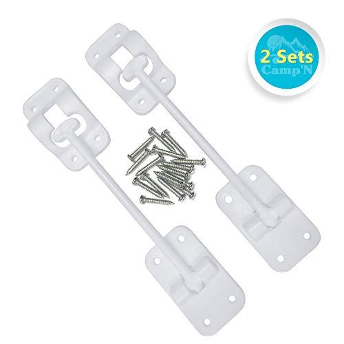 CampN T-Style 6 Door Latch-Holder-Catch with Hardware for RV, Trailer, Camper, Motor Home, Cargo Trailer - OEM Replacement (White 2-Piece)