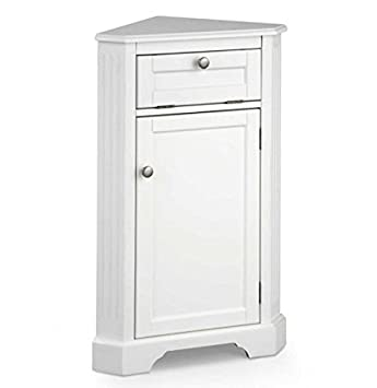 Amazon.com : Weatherby Bathroom Corner Storage Cabinet (White ...