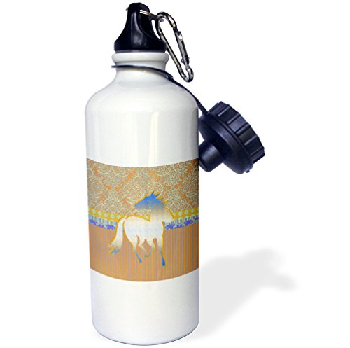 - 3dRose Horse Running on Damask Striped Design, Silver and Blue on Peach Color-Sports Water Bottle, 21oz (wb_167283_1), Multicolored