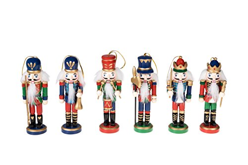 (Christmas Nutcracker Ornaments Set | Traditional Nutcracker Soldiers Christmas Decor Theme | 100% Wood | 6 Pack Variety of 5 inch Nutcrackers)