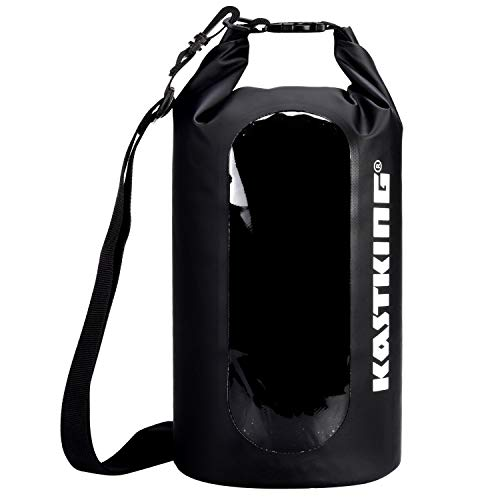 KastKing Waterproof Dry Bag 10L/20L/30L, Roll Top Sack for Kayaking, Camping, Innovative Clear Window Help with You Not Have to Unload The Whole Bag to Get What You Need. (Black, 20L)