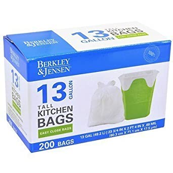Amazon.com: Berkley & Jensen 13 galones Cocina Bolsas de ...