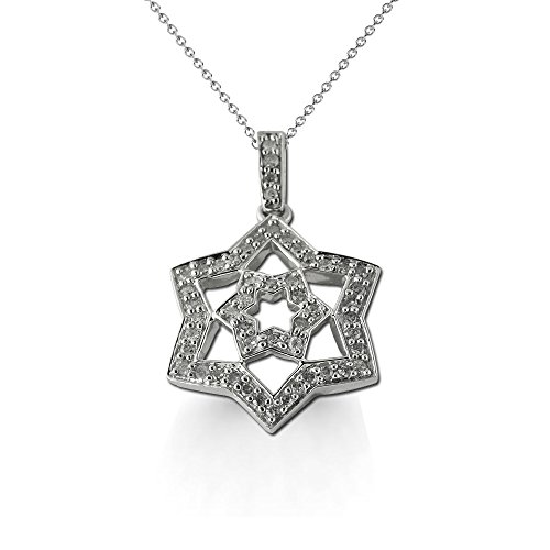 Diamond Double Star Pendant 0.25 ct tw in 14K White Gold.Included 18 inches 14K White Gold (0.25 Ct Diamond Star)