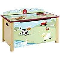 Guidecraft Wood Hand-painted Farm Friends Toy Box Storage Chest - Kids Room Furniture