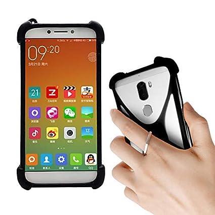 Lankashi Black Stand Ring Holder Soft Silicone Phone Case Cover for Unimax  UMX U683CL Ans Ul40 UL50 L50 u452tl U683CL U504TL U673c / Orbic Wonder