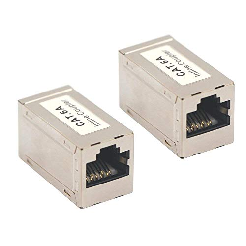 VCE 2-Pack RJ45 Shielded Metal CAT6A Female to Female in-Line Coulper