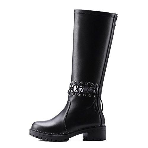 PU Allhqfashion Boots Zipper Toe Closed Women's Assorted Kitten Heels Color Black Round qR7R4tU