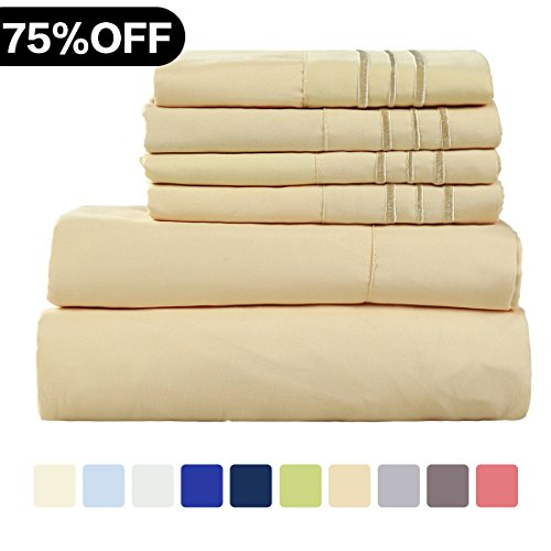 Cal King 6 Piece Bedding - WARM HARBOR Microfiber Sheet Set Super Soft 1800 Thread Count Deep Pocket Bed Sheets Wrinkle, Fade, Stain Resistant Hypoallergenic -6 Piece(Gold, Cal King)