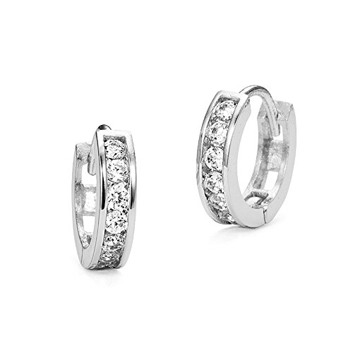 925 Sterling Silver Rhodium Plated 3mm x 13mm Cubic Zirconia Channel Huggie (Baby Cubic Zirconia Earrings)