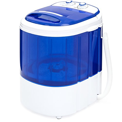 Best Choice Products Portable Compact Mini Twin Tub Washing Machine and Spin Cycle w/ Hose (Blue)