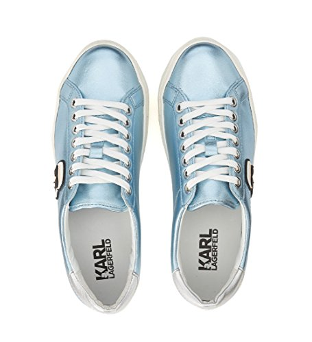 Karl Lagerfeld Womens Metallic Light Blue Leather Sneaker Light Blue Fa0us