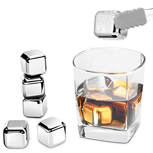 (Stainless Steel Ice Cubes, RIVERSONG Whiskey Stones Reusable Ice Cubes Chilling Stones Rocks for Wine, Beer, Beverage- FDA approved (Set of 8))