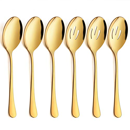 LIANYU 6-Piece Large Gold Serving Spoons, Gold Slotted Serving Spoons, Stainless Steel Serving Utensils for Party Buffet Restaurant Banquet Dinner Catering, Dishwasher Safe