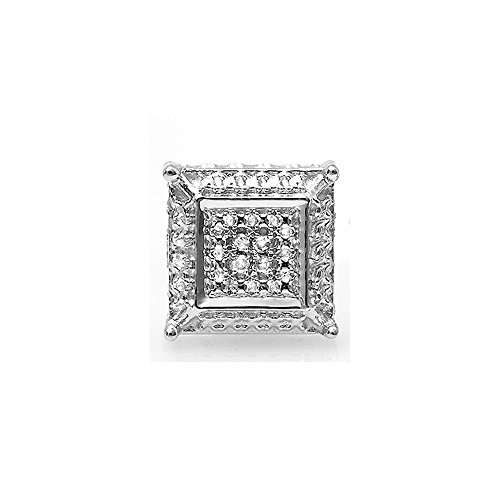 0.03 Carat (ctw) Sterling Silver Round White Diamond Micro Pave Kite Shape Stud Earring (Micro Pave Earrings)