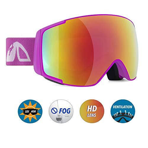 Unigear Skido X2 Kids Ski Goggles, 100 UV Protection Over The Glasses Snow Goggles with Toric Double Lens for Boys and Girls