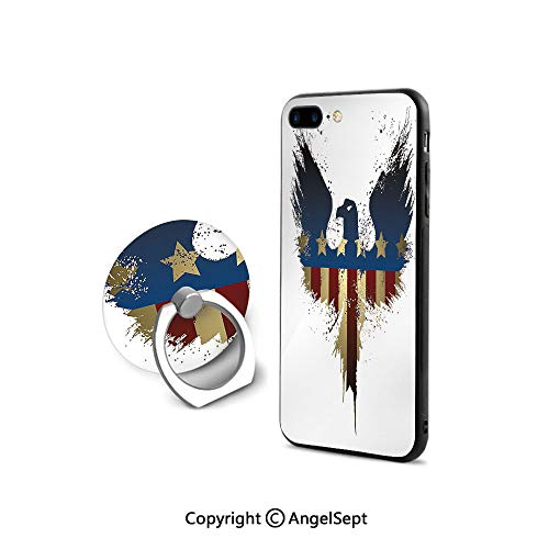 iPhone 8 Case/iPhone 7 Case with Ring Holder Kickstand,The American Flag on Silhouette of National Bird of The Country Majestic Animal Decorative,Shock-Absorption Bumper,Blue Red Sepia