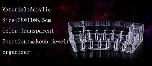 Transparent Acrylic Multi-checks Makeup Jewelry Organizer Desk Storage Box Case Holder