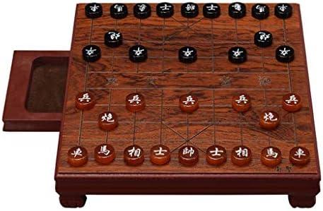 Mini Juego de ajedrez chino Viajes Ajedrez Ágata Ajedrez Mini Mesa de ajedrez + Juegos de mesa Juegos de mesa Juguetes de ajedrez Juguetes educativos for adultos Ajedrez adulto (Color :